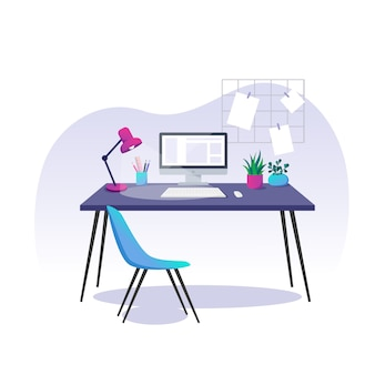 Vector illustration, home office. computer, stationery items and houseplants on a desk.