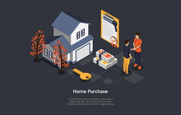 Векторные иллюстрации, концепция покупки дома. изометрическая 3d композиция, мультяшном стиле. услуги по продаже недвижимости, жилищный бизнес, агент и клиент, пожимая руки. договор страхового полиса, квартира