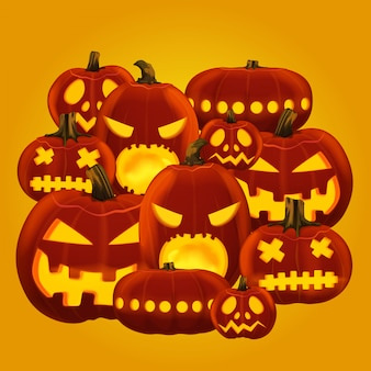 Vector illustration of horror halloween pumpkin lanterns with different faces carved.