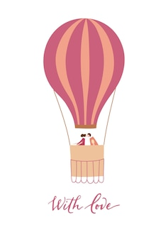 Vector illustration of hot air balloon with passengers. isolated cartoon air balloon with couple