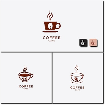 Vector illustration of hot coffee cup icon set logo design
