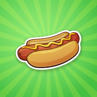 Vector illustration hot dog with mustard unhealthy food sticker in cartoon style