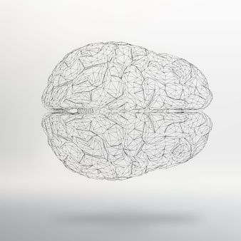 Векторная иллюстрация человеческого мозга абстрактные векторные фон стиль многоугольной дизайна