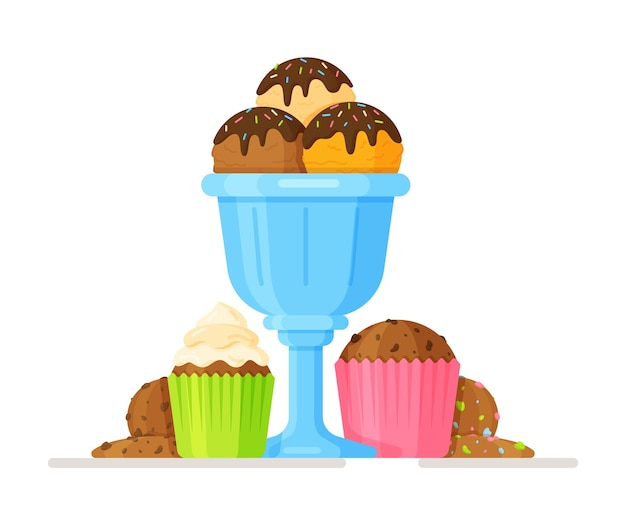 Vector illustration of ice cream in a blue glass, cupcakes and cookies
