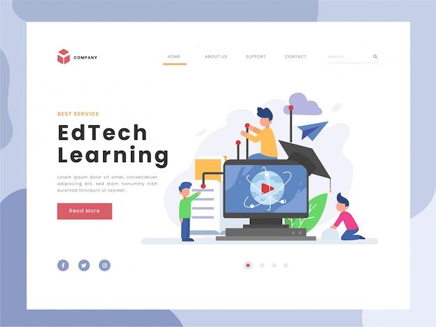 ランディングページテンプレート、教育技術、学習、研究と実践、平らな小さな改善スキル、知識についての象徴的な可視化のベクトル図のアイデアコンセプト。フラットスタイル。