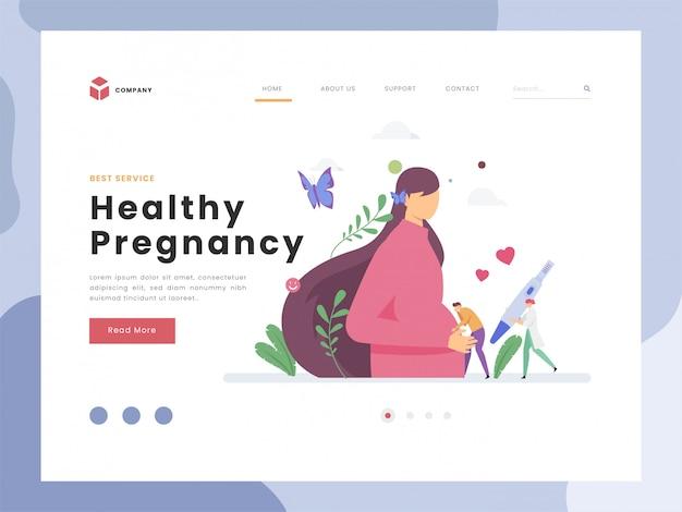 ランディングページテンプレート、妊娠、妊娠、フラットの小さな人のベクトルイラストアイデアコンセプト赤ちゃんキックを聞く、生まれたばかりの赤ちゃんを待っています。抽象的な母性愛と赤ちゃんの出産の期待。フラットスタイル