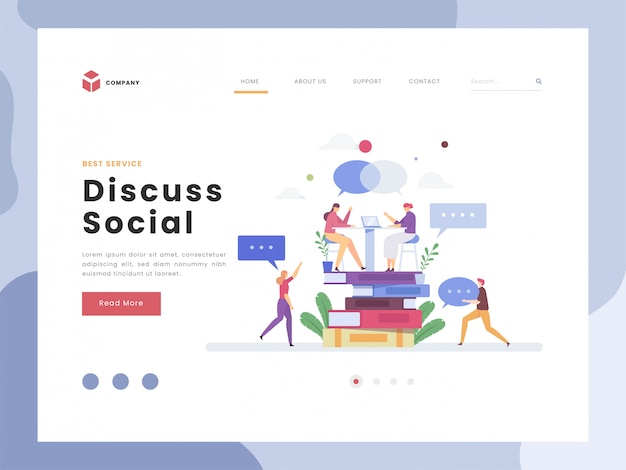Vector illustration idea concept for landing page template,discuss of social, flat tiny making a conversation to express thoughts verbal. dialog communication answer and questions meeting. flat styles