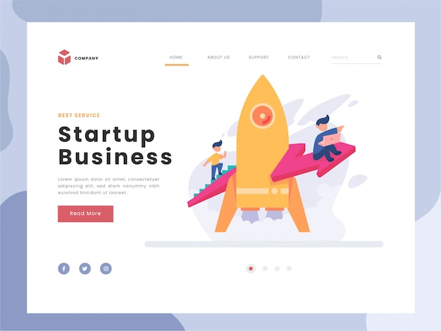 Vector illustration idea concept for landing page template, man soars into the sky through clouds with jet pack rocket, team startup launch of a new business developing company, flat gradient style.