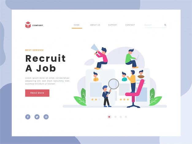 Vector illustration idea concept for landing page template, recruitment of employee, flat tiny persons man finding the best person, lat styles