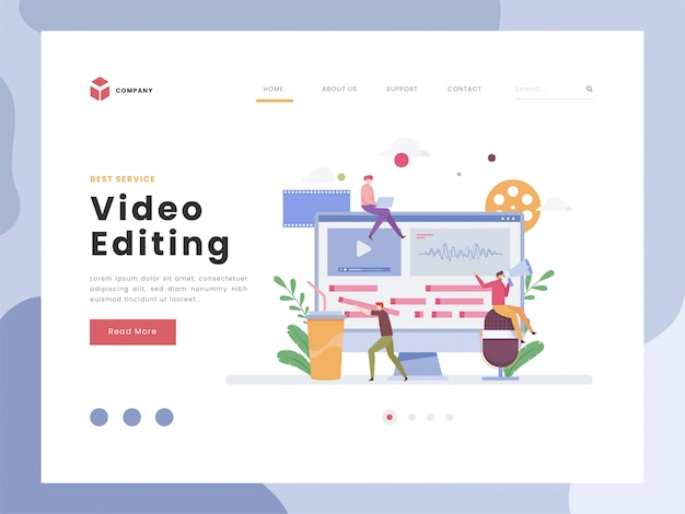 Vector illustration idea concept for landing page template,video editor, flat tiny persons man with timeline working, recording, multimedia content for online video blog channel. flat styles