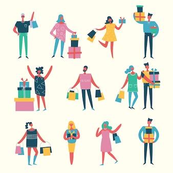 Векторная иллюстрация в плоском стиле различных видов деятельности людей в плоском стиле