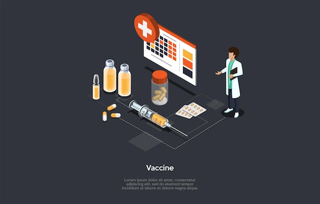만화 3d 스타일에서 벡터 일러스트 레이 션. 텍스트와 어두운 배경에 아이소메트릭 구성입니다. 백신, 예방 접종 과정 개념, 의료 종사자 및 요소. 코로나바이러스 및 기타 질병 예방