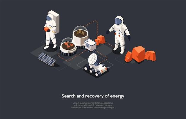 만화 3d 스타일에서 벡터 일러스트 레이 션. 에너지 검색 및 복구 개념에 아이소메트릭 구성입니다. 어두운 배경, 문자, 텍스트. 대체 전원 공급 장치 아이디어, 미래 우주 과학 연구