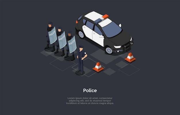 만화 3d 스타일에서 벡터 일러스트 레이 션. 경찰 보호 개념에 아이소메트릭 구성입니다. 어두운 배경, 문자, 텍스트. 정부군. 제복을 입은 경찰관 팀, 뒤에 자동차.
