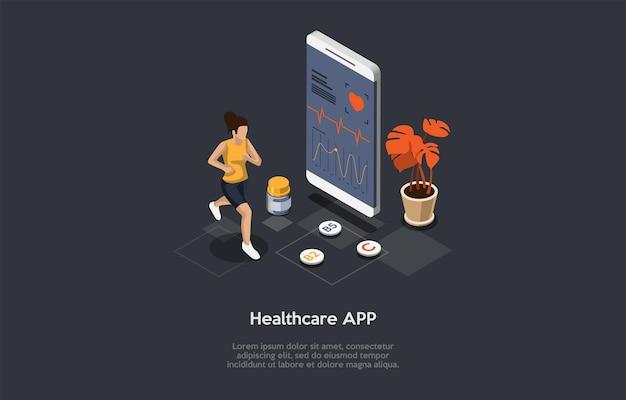 만화 3d 스타일에서 벡터 일러스트 레이 션. 문자, 개체와 아이소메트릭 구성입니다. 의료 제어 모바일 응용 프로그램 개념입니다. 실행 중인 여자, 화면에 프로그램이 있는 스마트폰, 인포그래픽