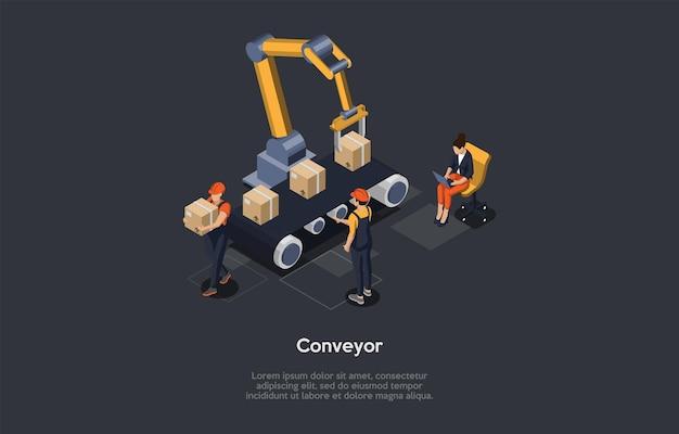 漫画の3dスタイルのベクトルイラスト。文字とオブジェクトを使用したアイソメトリック構成。倉庫または工場のコンベヤーの概念。店舗商品の製造プロセス。ロボット機構、段ボール箱。