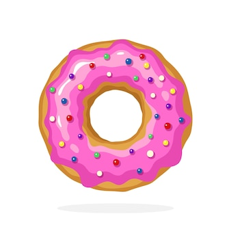 Векторные иллюстрации в мультяшном стиле пончик с розовой глазурью и цветными сахарными драже