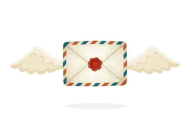 漫画スタイルのベクトルイラスト空飛ぶ閉じたビンテージメール封筒