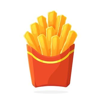 漫画スタイルのベクトルイラスト紙の赤いパックのフライドポテト不健康な食べ物