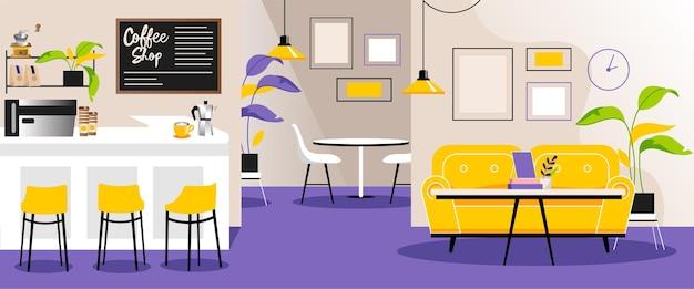 Векторные иллюстрации в плоский мультяшном стиле интерьера пустого кафе