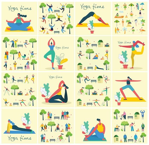 フラットでシンプルなスタイルで公園の外でさまざまな種類のスポーツをしているグループの人々のフラットなデザインのベクトル図