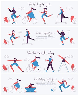 さまざまな種類のスポーツをしているグループの人々のフラットなデザインのベクトル図