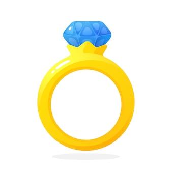 Векторные иллюстрации в плоский обручальное золотое кольцо с бриллиантом