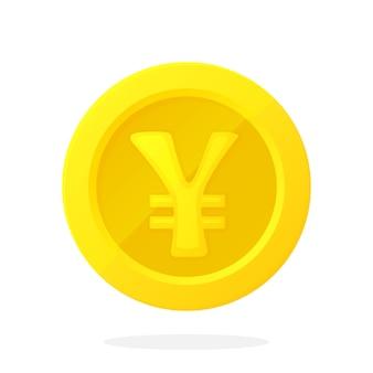 フラットスタイルのベクトルイラスト日本円または中国人民元の金貨現金