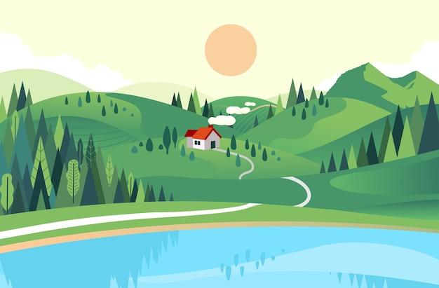 近くに湖と森のある丘の家のフラットスタイルのベクトルイラスト。美しい風景イラスト