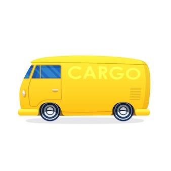 Векторная иллюстрация в плоском стиле ретро фургон для грузовых перевозок промышленный грузовик