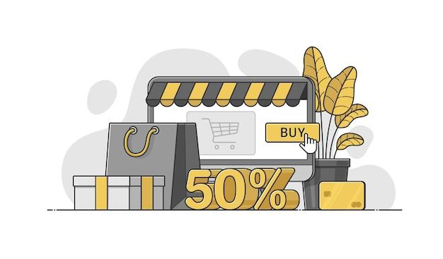 オンラインショッピング、販売バナーのアウトラインとフラットスタイルのベクトルイラスト。 50%割引