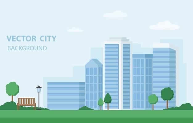シンプルなフラットスタイルのベクトルイラスト。建物、ベンチ、木々のある街の風景。テキスト用のコピースペースを備えた水平バナーと背景。