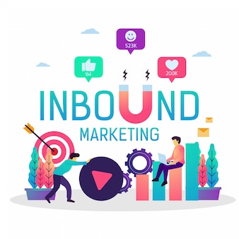 Vector illustration of inbound marketing business strategy.