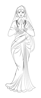 Vector illustration of indian elegant lady in saree with both hands folded for prayer or welcoming