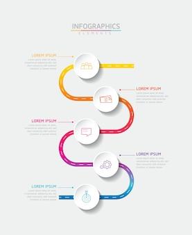 Векторная иллюстрация инфографики дизайн шаблона презентации 5 вариантов или шагов