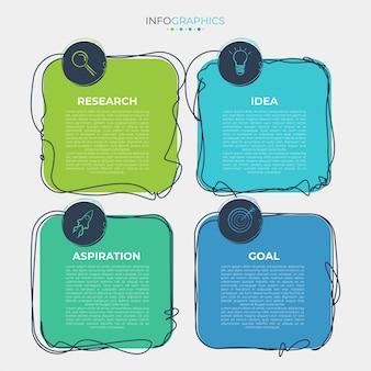Векторные иллюстрации шаблон оформления инфографики с значками и 4 вариантами или шагами.