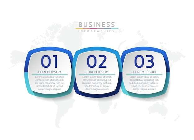 ベクトルイラストインフォグラフィックデザインテンプレートビジネス情報プレゼンテーションチャート3つのオプションまたはステップ