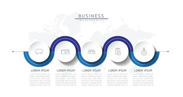 Векторная иллюстрация инфографики шаблон дизайна бизнес-информации диаграмма презентации с 5 вариантами или шагами