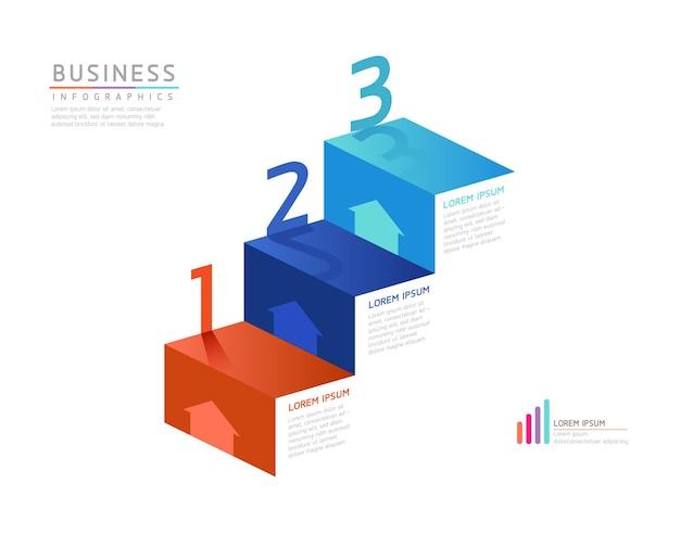 Векторная иллюстрация инфографики дизайн шаблона маркетинговой информации с 3 вариантами или шагами