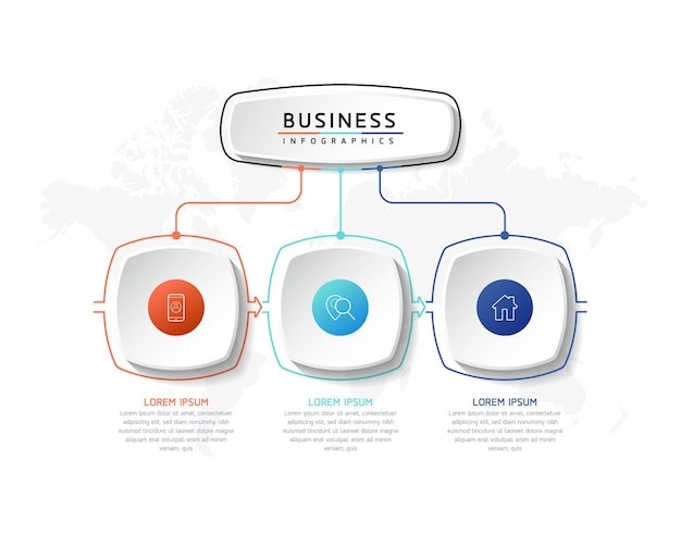 Vector illustration infographics design template marketing information with 3 options or steps