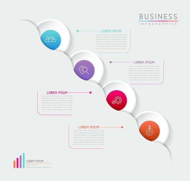 Векторная иллюстрация инфографики дизайн шаблона маркетинговой информации с 4 вариантами или шагами