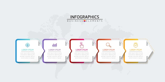 Vector illustration infographics design template marketing information with 5 options or steps