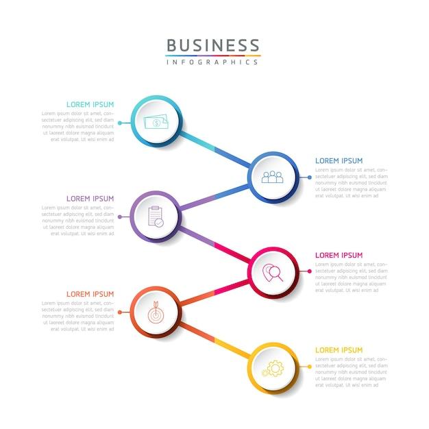 Векторная иллюстрация инфографики дизайн шаблона маркетинговой информации с 6 вариантами или шагами