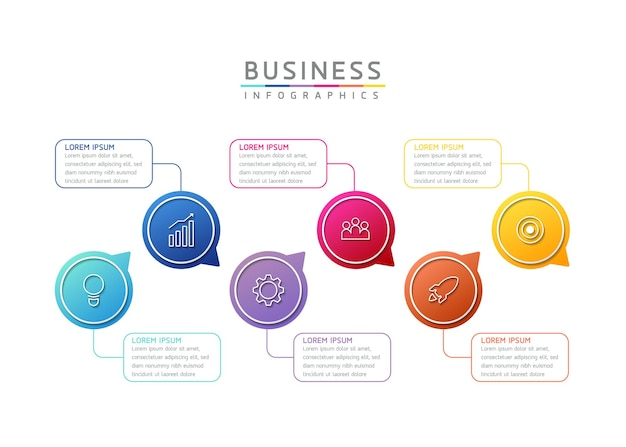 Vector illustration infographics design template marketing information with 6 options or steps