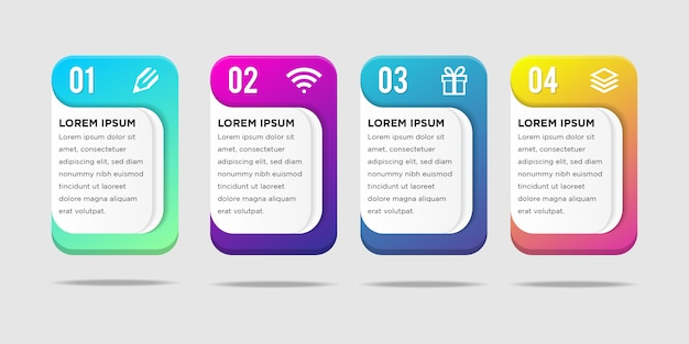 Vector illustration infographics long squares with rounded corners