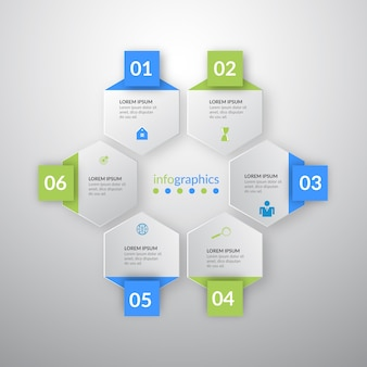 Vector illustration infogrphics with six icons