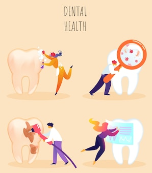 Vector illustration inscription dental health.