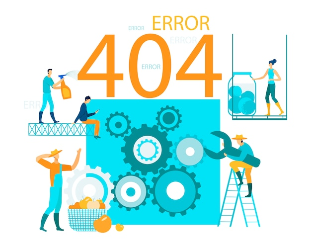 Vector illustration inscription error 404 page website.