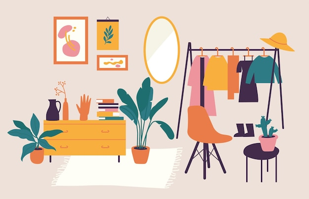 Векторная иллюстрация интерьер со стильной удобной мебелью и домашними украшениями.