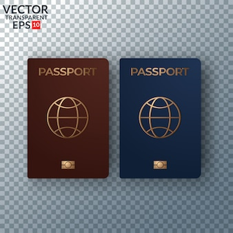 Vector illustration international passport with map isolated